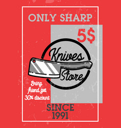Color vintage knives store banner vector