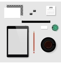 Concept of mockup office workplace vector image