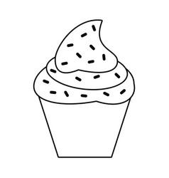 Cupcake sweet dessert thin line vector