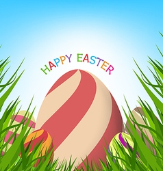 Easter eggs spring fresh grass background vector