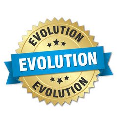 Evolution round isolated gold badge vector