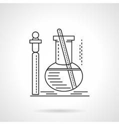Flat black line laboratory test icn vector