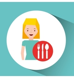 Girl cartoon traveler and restaurant icon design vector