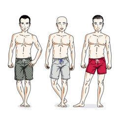 handsome men posing in colorful beach shorts vector image