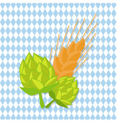 hop and golden ears of wheat vector image
