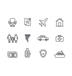 Line insurance icons vector image vector image