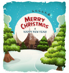merry christmas landscape postcard vector image