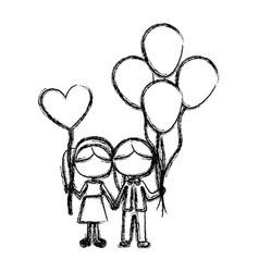 Monochrome sketch of caricature faceless couple of vector