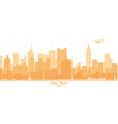 New york city banner panorama buildings landmarks vector