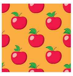 Orange seamless background with red apples vector
