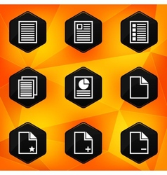 Paper Hexagonal icons set on abstract orange vector image vector image