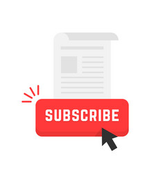Red subscribe newsletter button vector
