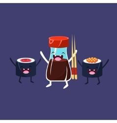 Rolls and soya sauce cartoon friends vector