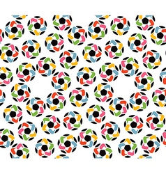 Seamless texture of soccer balls and united hands vector