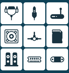 Set of 9 computer hardware icons includes vga vector
