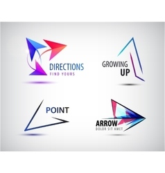 Set of arrow logos pointer icons abstract vector