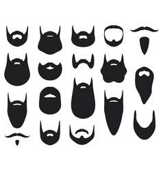 Set of beard silhouettes vector