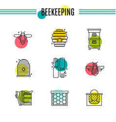 set of icons of beekeeping honey apiary vector image vector image