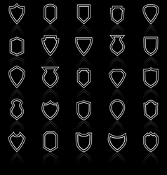 Shield line icons with reflect on black vector image vector image