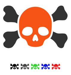 skull and bones flat icon vector image vector image