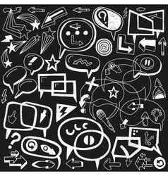 speech bubbles and arrows - doodles set vector image