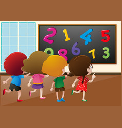 students counting numbers on the board in class vector image