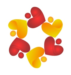 Teamwork sharing hearts logo vector image