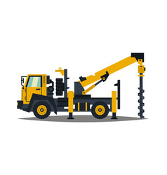 truck drilling yellow isolation on a white vector image vector image