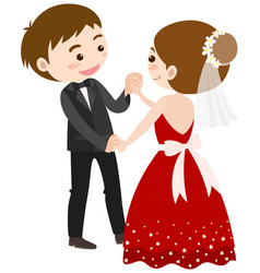 Wedding couple dancing on white background vector