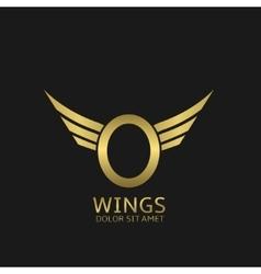 Wings o letter logo vector