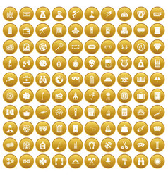 100 adult games icons set gold vector