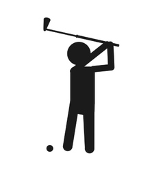 Ball club and player of golf sport design vector