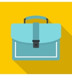 Blue business briefcase icon flat style vector