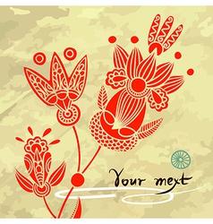 floral element on grunge background vector image