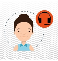 Woman headphone isolated design vector