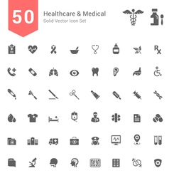 Healthcare and medical solid icon set vector