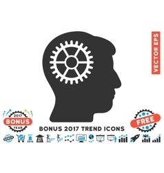 Intellect cog flat icon with 2017 bonus trend vector