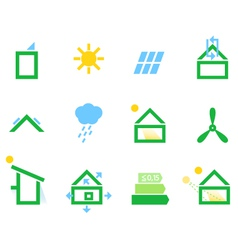 Passive house icons isolated on white vector