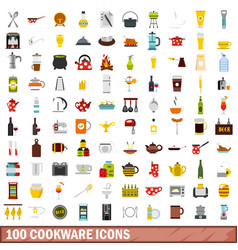 100 cookware icons set flat style vector image