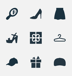 Set of simple garments icons vector