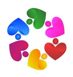 Teamwork handle hearts logo vector image