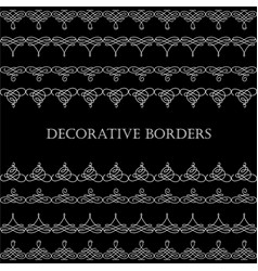 Borders set collection in calligraphic retro style vector