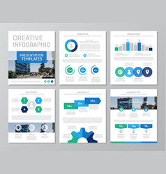 set of green and blue elements for multipurpose a4 vector image