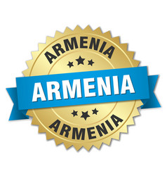 Armenia round golden badge with blue ribbon vector