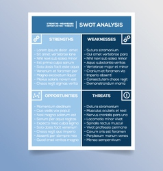 Editable swot analysis template - marketing vector