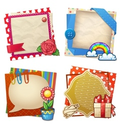 Sets of paper and other items for scrapbooking vector