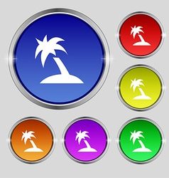 Palm tree travel trip icon sign round symbol on vector