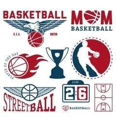 Set of vintage basketball badges and labels vector