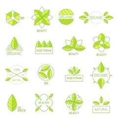 Ecology icons set elements labels organic natural vector