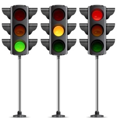 three traffic lights vector image